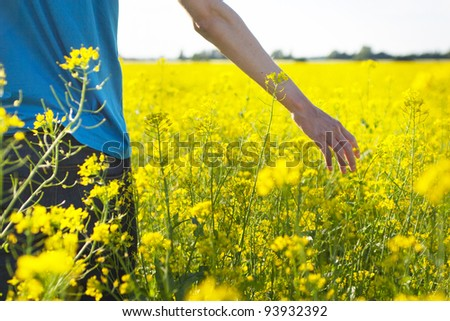 Man walking in the rape field
