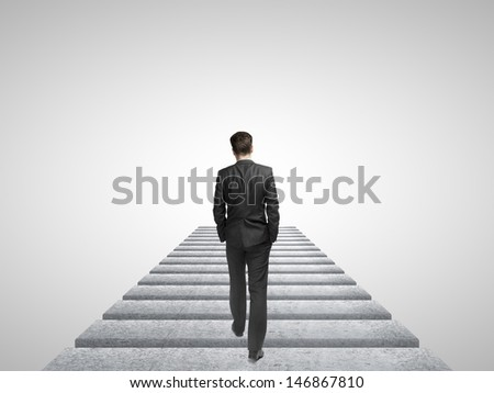 man walking in the sky - stock photo
