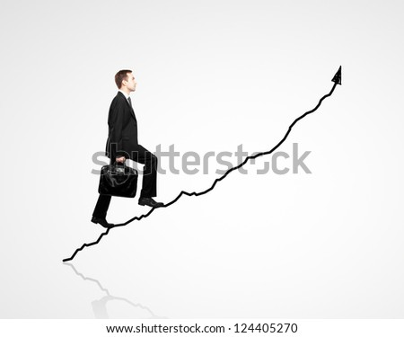 man walking on chart  on a white background - stock photo