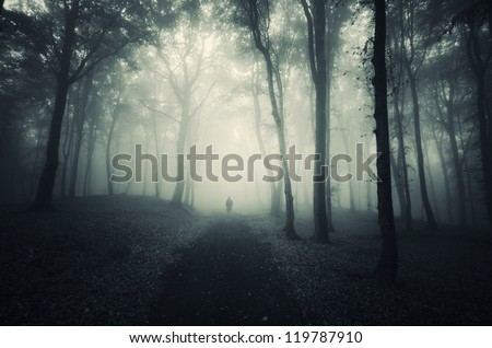 man walking on path through a dark forest - stock photo