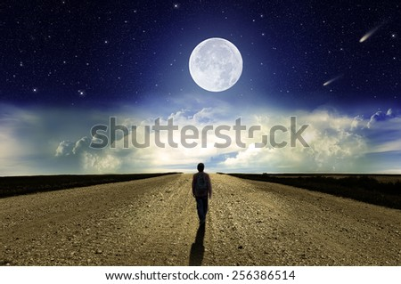 Man walking on the road at night in the moonlight - stock photo