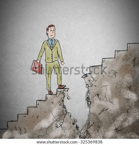 Man walking on the stairs is interrupted - stock photo