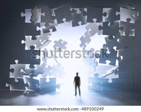 Man Walking Through Break Jigsaw Puzzle Stock Illustration ...