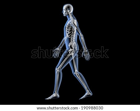 Man walking through X-ray security check - stock photo
