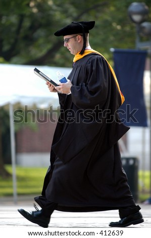 Man walking to the graduation ceremony