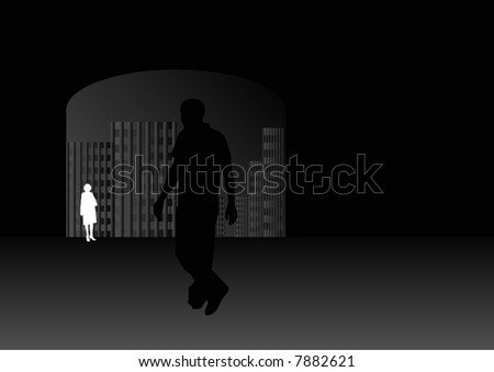 man walking towards tunnel with cityscape and female in background at night