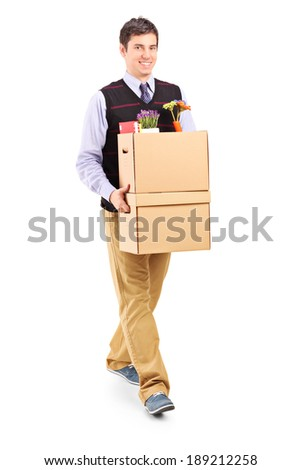 Man walking with moving boxes isolated on white background