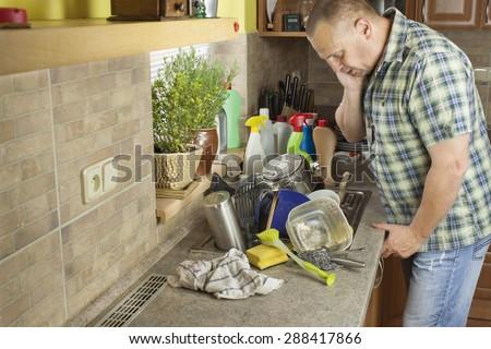 Man Washing Dirty Dishes Kitchen Sink Stock Photo 288417866 ...