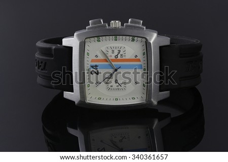 Man watch on a black background