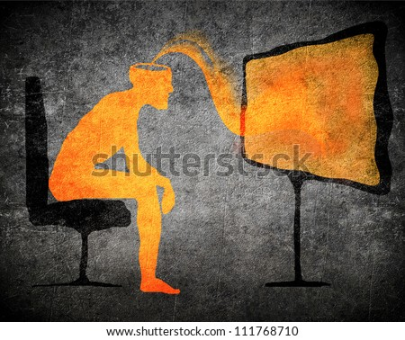 man watching tv subliminal message concept - stock photo