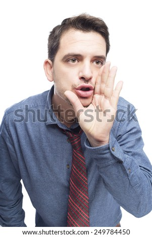 Man wearing a blue shirt and red tie. He is screaming.Over white background