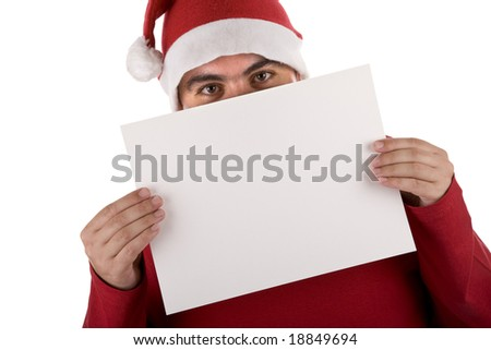man wearing a red santa hat holding blank billboard - stock photo