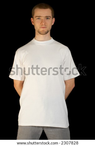Man wearing a white template T-shirt (including clipping-path)