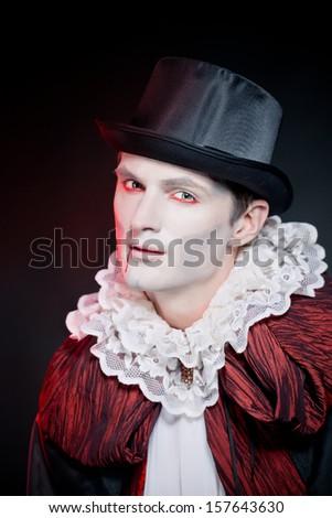 man  wearing  as  vampire  Halloween - stock photo