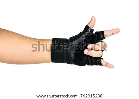 Man Wearing Black Fitness Gloves, Workout Gloves, Gestures I Love You man hands sign, Healthy Concept Isolated on white background.