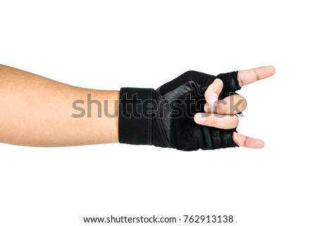 Man Wearing Black Fitness Gloves, Workout Gloves, Rock and Roll hand sign, Healthy Concept Isolated on white background.