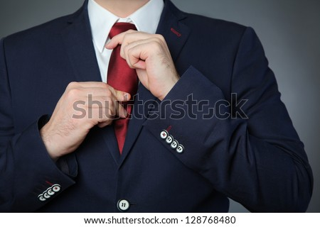 man wearing blue business suit