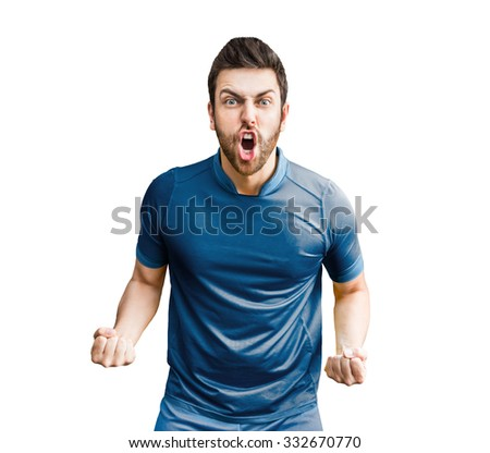 Man wearing blue uniform celebrates on white background