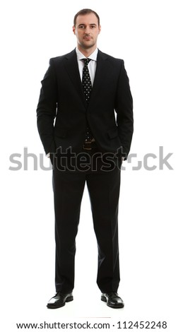 Man wearing business classic outfit. Studio shot.