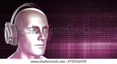 Man Wearing Earphones on an Abstract Background Art 3D Illustration Render 3D Illustration Render