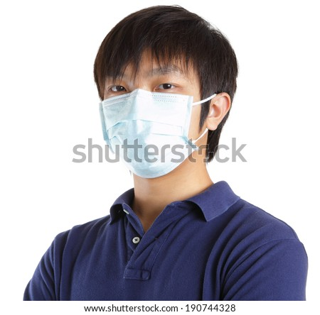 Man wearing face mask  - stock photo