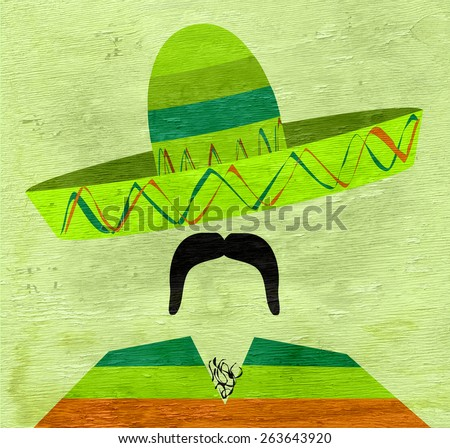 man wearing sombrero on wood grain texture - stock photo