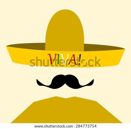 man wearing viva (live) sombrero - stock photo