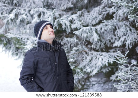 Man wearing warm clothes on a cold winter day