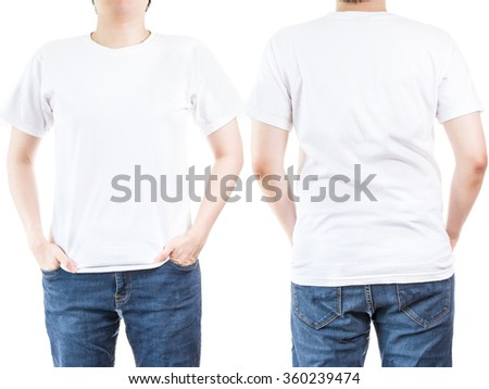 man wearing white t shirt isolated on white background