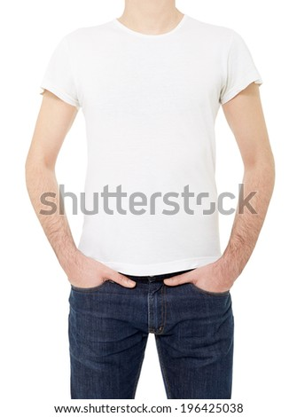 Man wearing white t-shirt isolated on white, clipping path included