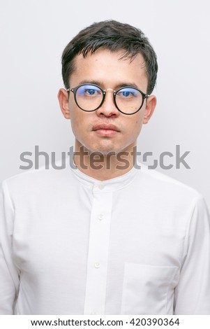 Man white suit Nosebleeds patient close-up on white background - stock photo