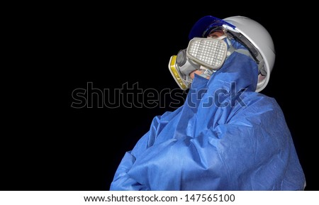 Man who working on toxic mask - stock photo