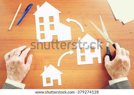 Man wishes improving of living conditions. Abstract image with paper scrapbooking