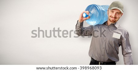 Man with a bottle of drinking water.