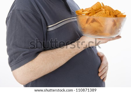 Man With A Bowl Of Nachos