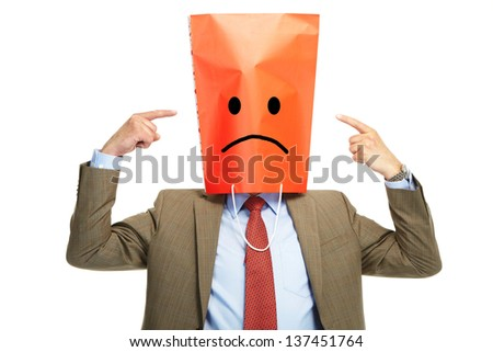 Man with a box on a head, isolated over a white background - stock photo
