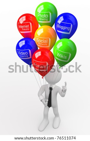 Man with a bunch of balloons, with words related to new technologies - stock photo