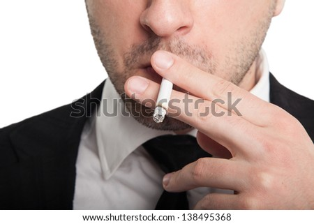 Man with a cigarette - stock photo