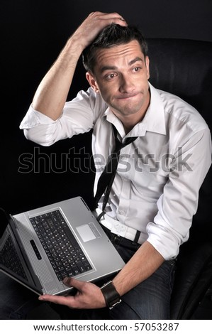 man with a computer - stock photo