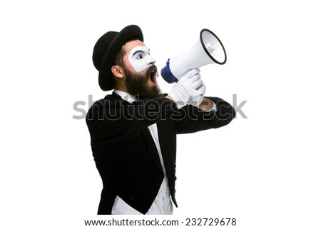 Man  with a face mime screaming into a megaphone, isolated on white background. concept of effective communication - stock photo