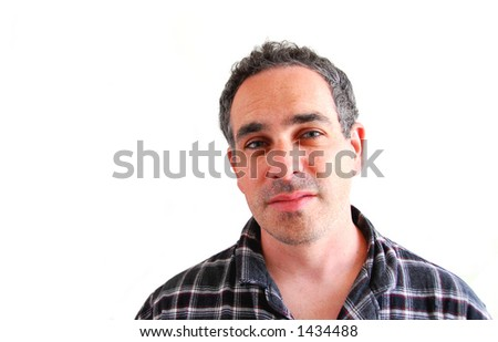 Man with a flu in pajamas over white - stock photo