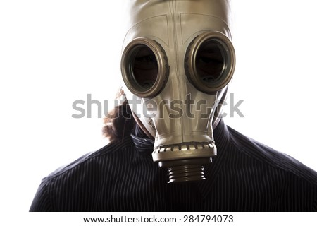 man with a gas mask on white background