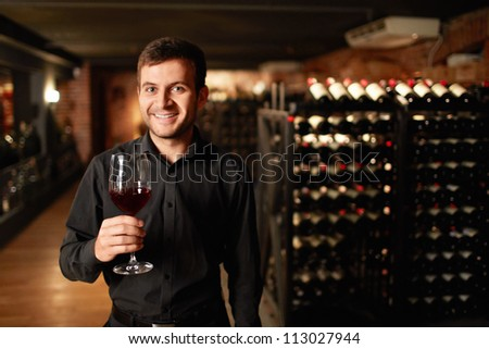 Man with a glass of wine in the cellar - stock photo