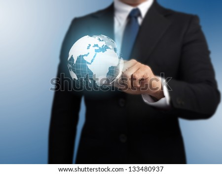 man with a global technology background with the planet Earth