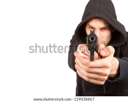 Man with a gun, isolated on a white background