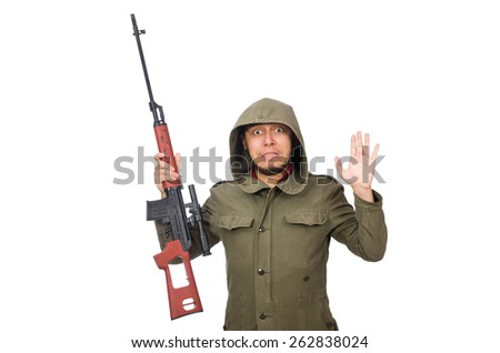 Man with a gun isolated on white - stock photo