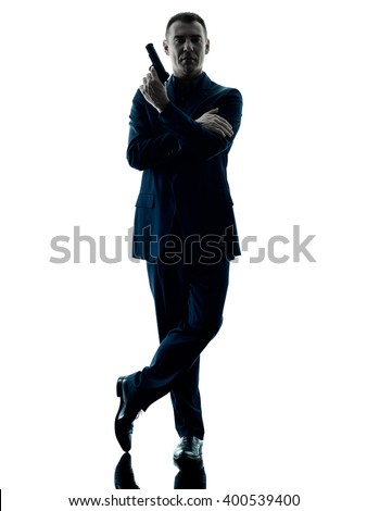 man with a handgun silhouette isolated - stock photo