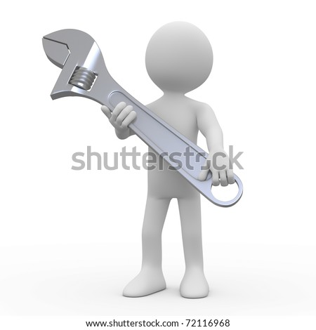 Man with a huge adjustable spanner