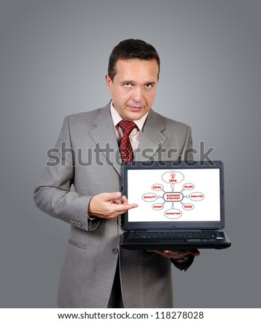 man with a laptop in hand points to business strategy