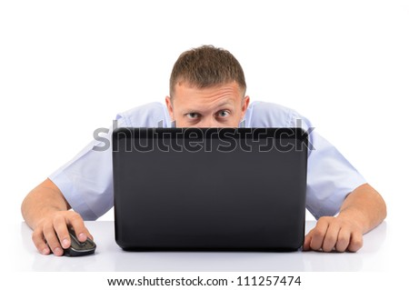 Man with a laptop on white background - stock photo